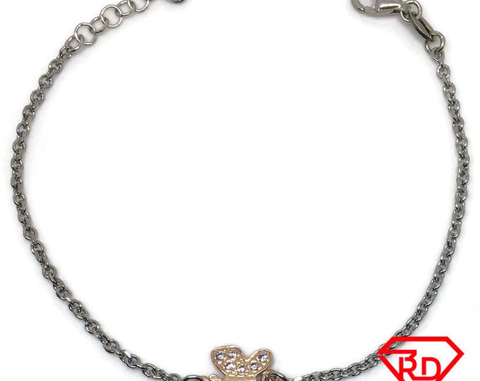 Butterfly Cubic Zirconia Bracelet 8 inch chain Rose & white gold