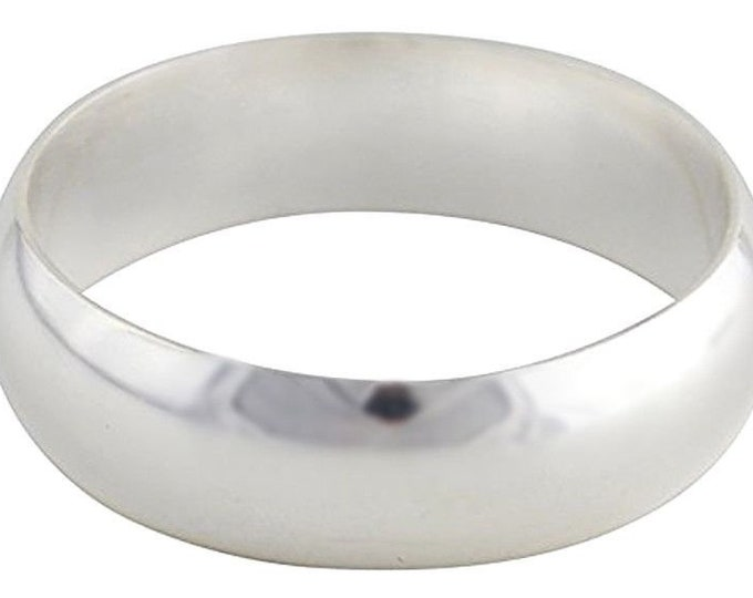 Handmade solid 999 silver high polished glossy plain wedding ring band 5.5mm s3