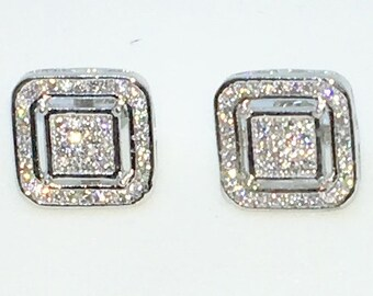 14k White Gold Layered Square in rounded Square shaped CZ on 925 Solid Sterling Silver Stud Earrings ( 11 . 2 mm )