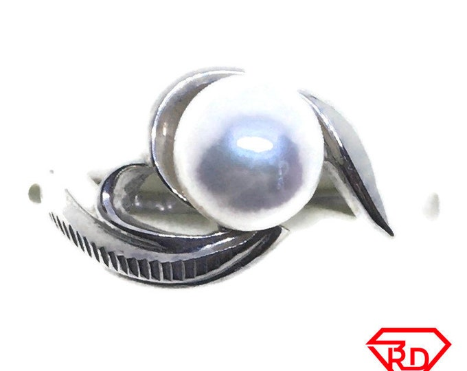 Swirl Round pearl ring band 14k white gold S8