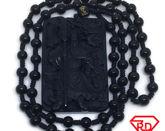 Guan Yu Black Onyx Beads 24 inch Necklace