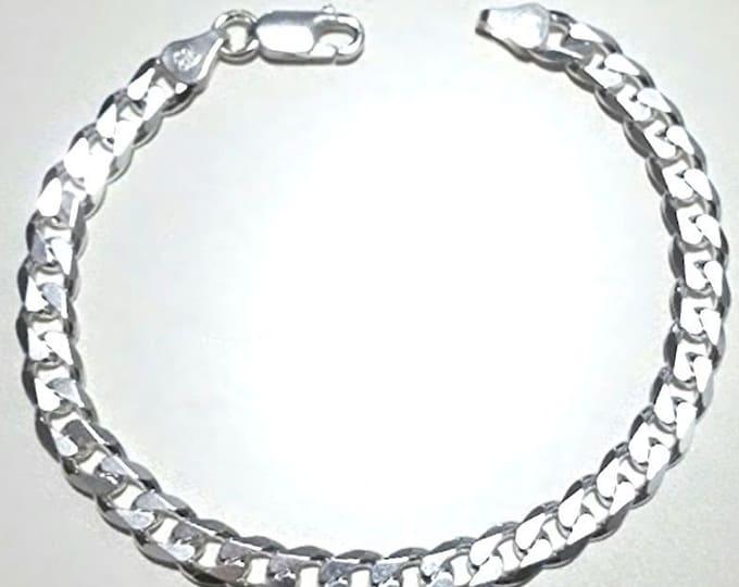 """New men women children sterling silver italian cuban curb link bracelet-5.5mm 9"""""""