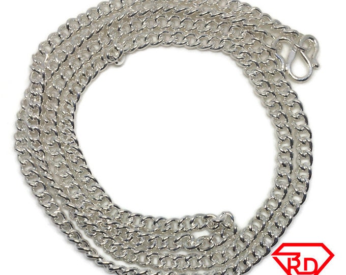 Round Curb Chain 24 inch Necklace Handmade .990 Silver