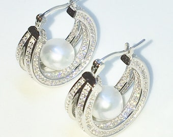 Brand New White Gold on 925 Solid Sterling Silver Double Circle CZ on Single Pearl hoop Earrings ( 19 . 6  mm )
