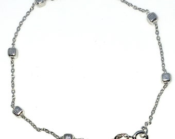 New White Gold Layered 925 Solid Sterling Silver 7 inch Cubes on Cable chain baby Bracelet with springring clasp