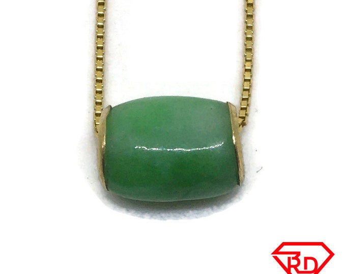 Oval Bead Green Jade Pendant 14K Real Yellow gold