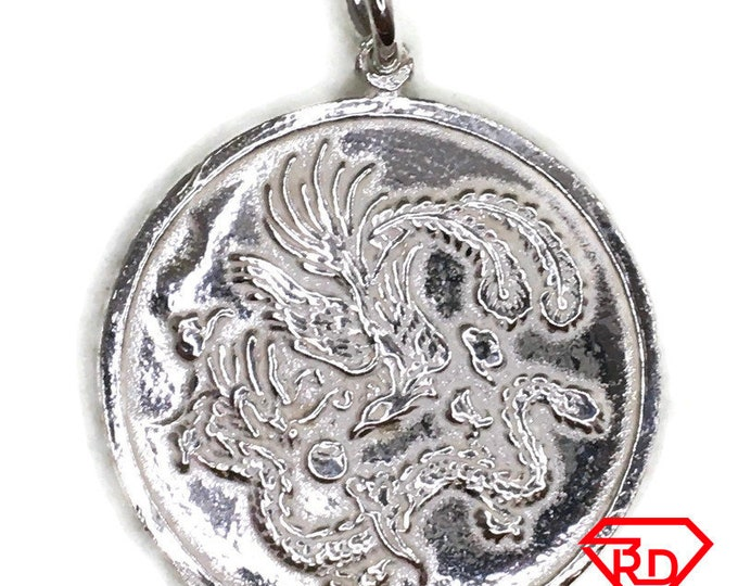 Chinese dragon round charm pendant white gold on silver
