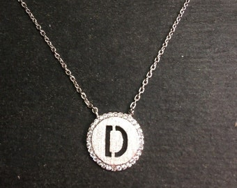 "14k layer on solid .925 silver letter ""d"" cz handset cable link necklace: 16-18"""