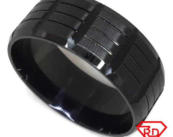Block pattern Large Ring black gold on Steel (size 13)
