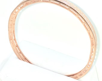New Rose Gold Layered on 925 Solid Sterling Silver Bangle Bracelets Full white CZ Oval Slip in