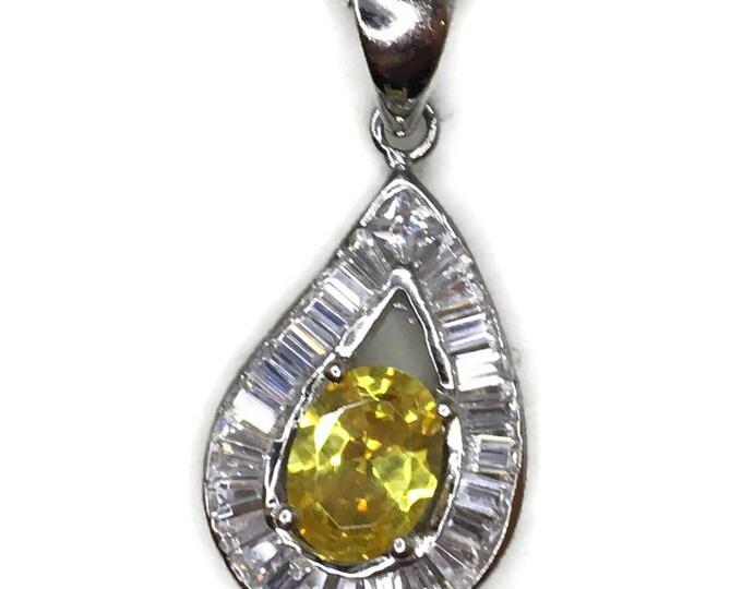 Yellow Birthstone-like Pendant Oval Cubic Zirconia & white gold