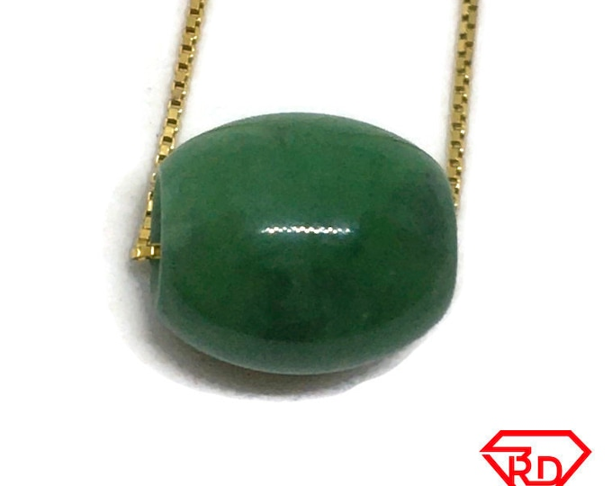 Small Smooth Oval Bead Green Jade Pendant Charm