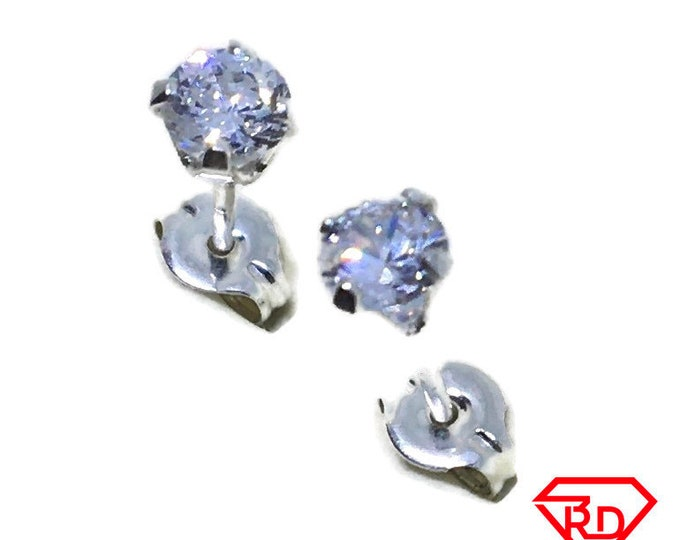 White round CZ small Stud Earrings 925 silver