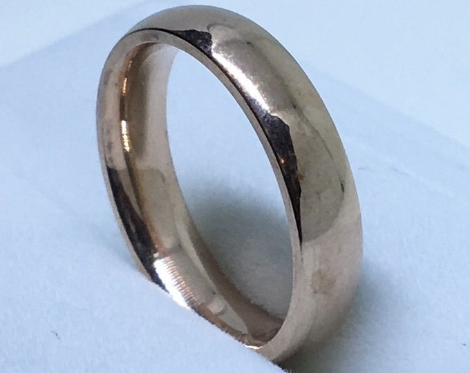 3 . 7 mm Brand New Rose Gold Plated on Plain Smooth Stainless Steel ring band