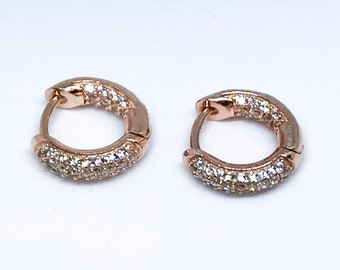 14K Rose Gold on Small Sterling Silver Hoop Earrings