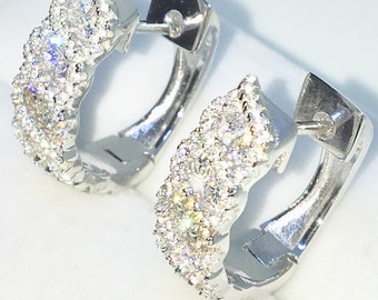 Brand New White Gold on 925 Solid Sterling Silver One sided Double row white round CZ hoop Earrings ( 17 . 1 mm )
