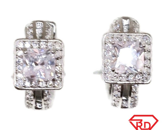 Brand New white gold on 925 Silver Hoop Earrings One sided with white Princess and round CZ ( 15 . 5 mm )