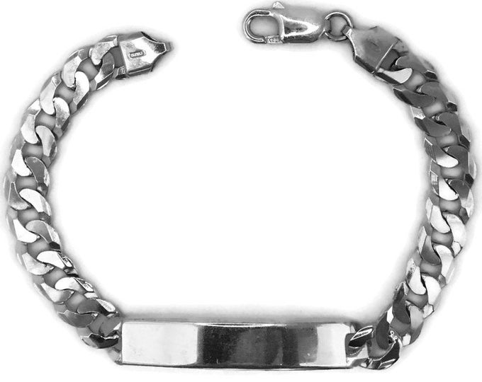 white gold layer Silver bracelet ID tag with curb chain
