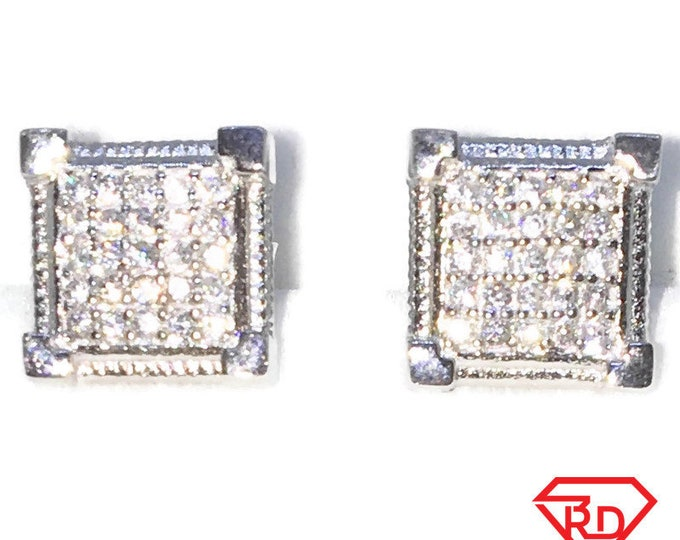 Brand New White Gold on 925 Solid Sterling Silver Pointy Corner 5 by 5 Square with white round CZ studs Earrings ( 9 . 3  mm )