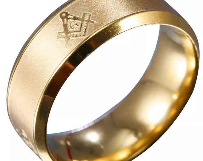 8mm Size12 New Yellow Gold Plated Mason Masonic on Stainless Steel unisex ring band