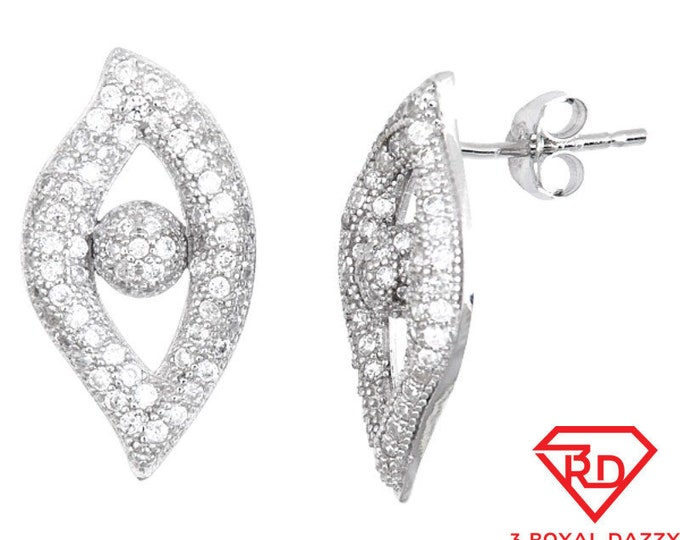 18k w gold layer EYE design on .925 Sterling Silver CZ Micro Pave Earrings
