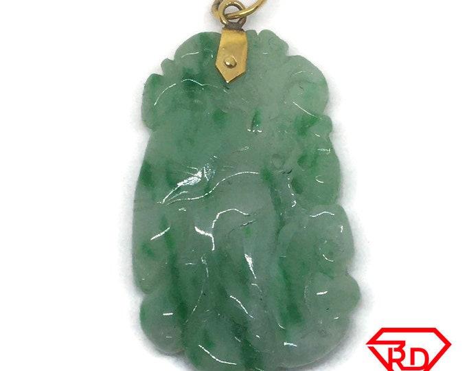 Unique green Jade Pendant Charm 14K Yellow Gold