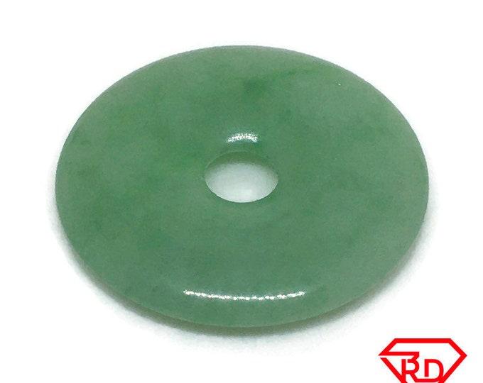 Medium Smooth plain Round Circle Green Jade Pendant Charm