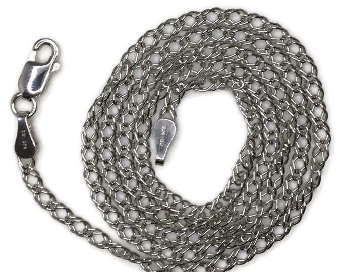 Brand New White Gold on 925 Sterling Silver Necklace 18 inch Unique Thin double chain with Lobsterclaw Clasp ( 2 . 6 mm )
