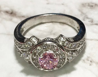 NEW 14K White Gold Layered on Sterling Silver Circle Halo Pink Stone Ring