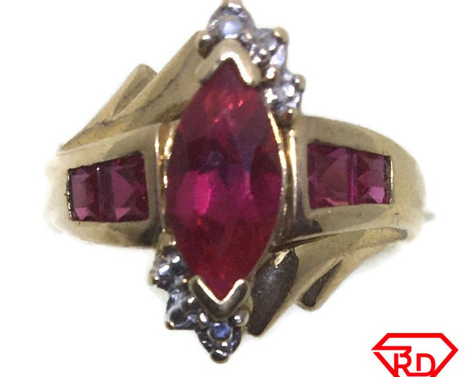 Marquise Red CZ ring 10k yellow gold S7