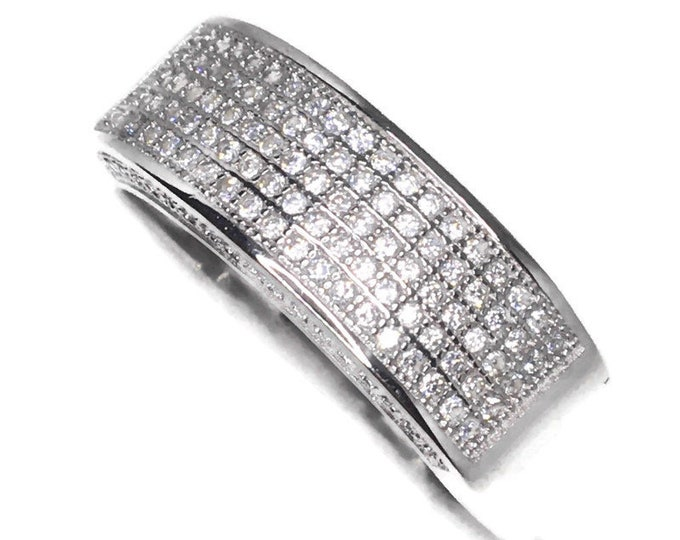 big bezel row white round CZ White gold on Silver ring Band (11 . 75)