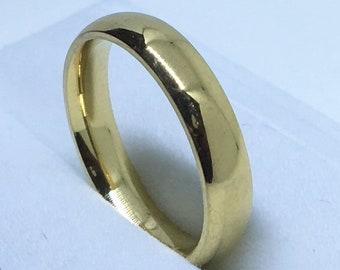 3 . 9 mm Size 7 Brand New Yellow Gold Plated on Plain Stainless Steel ring band