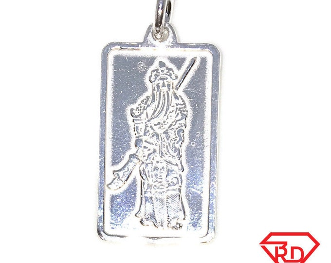 New Solid Silver Medium Pendant Guan Yu and Chinese letters