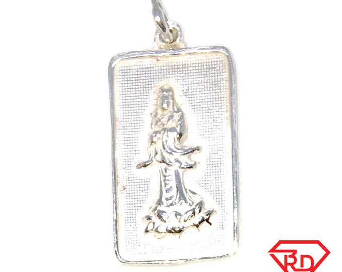 Solid Silver Medium Pendant rectangle shape standing Guanyin