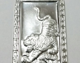 Chinese Zodiac Horoscope 999 fine Silver Rectangle Year of Tiger Pendant charm