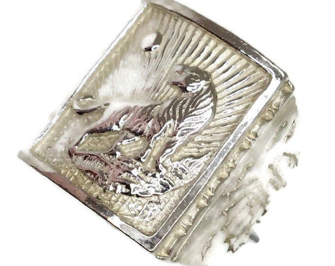 Tiger Zodiac Men ring Anti-Tarnish Silver Band (Size  8 . 75)