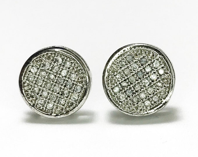 NEW .925 Sterling Silver cz Circle Shaped with Stones Stud Earrings