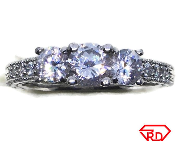 4 prong rows round CZ Ring 14k white gold on Silver (size 9)
