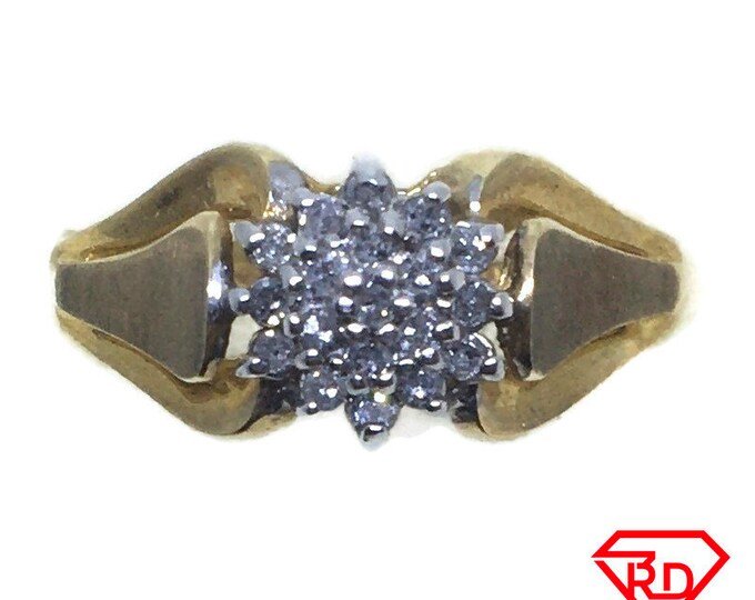 Small Flower Diamond ring 10k Double gold S7
