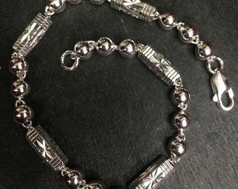 """6mm 9 . 5""""- New Handcrafted Big Size Men solid Hollow . 925 Silver round Ball & Bar Bracelet"""