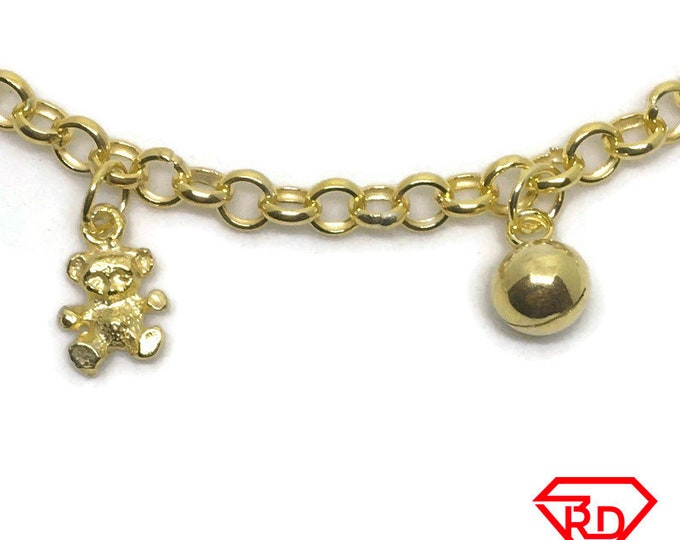 Teddy bear & bell charm 7 inch Bracelet 999 Yellow Gold Layer