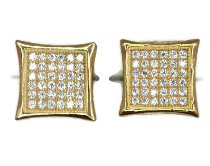 Brand New Yellow gold on 925 Silver Studs Earrings Large Pointy Square with round white CZ ( 11 . 6 mm )