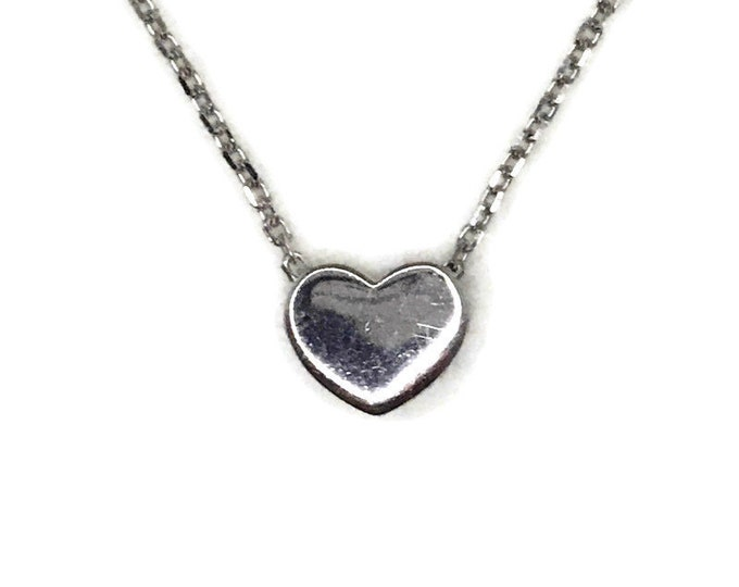 White Gold layer Silver Pendant Necklace smooth small heart
