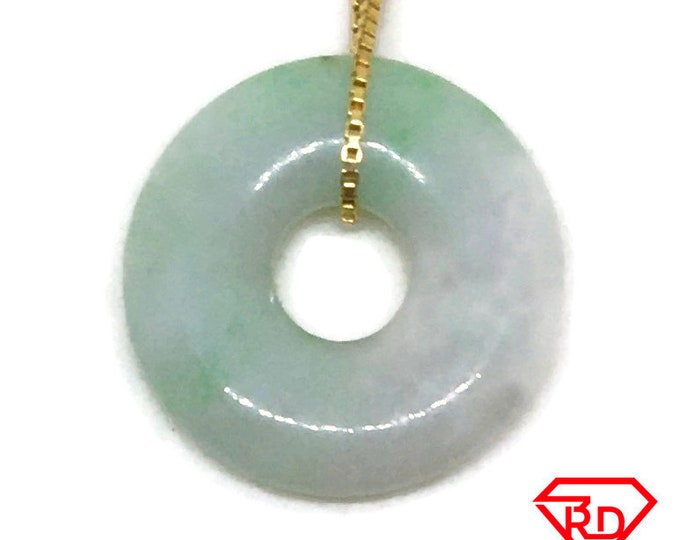 Small Smooth plain Round Light Green Jade Pendant Charm