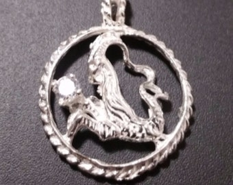 Astrology Zodiac Capricorn Horoscope Birthday Anti Tarnish .925 Sterling Silver Pendant
