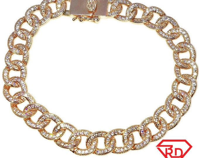 Brand New Rose Gold on 925 Solid Sterling Silver 7 inch Curb Chain Round white CZ Tennis Bracelet with Box Clasp