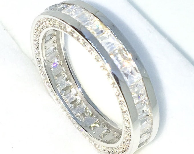 Handcraft White Gold Plated on Silver eternity ring band