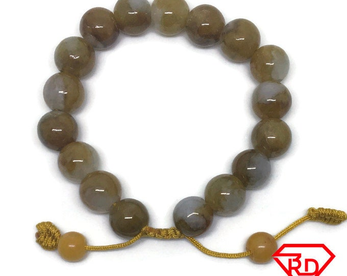 Round beads green Jade chinese Adjustable Bracelet