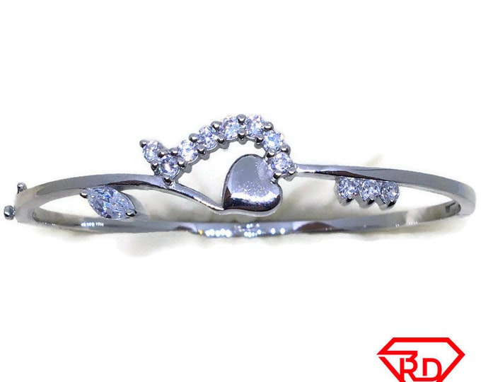Marquise CZ Heart bangle bracelet white gold layer