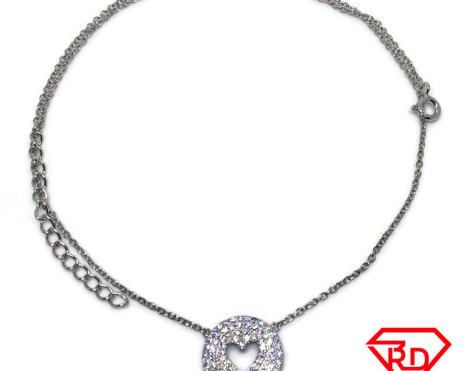 round heart CZ Necklace 18 inch chain white gold on silver